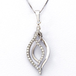 White Gold and Diamond Dangle Necklace  Model# JN268