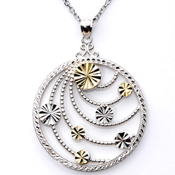14k Yellow Gold and Sterling Silver Medallion Necklace  Model# JN520