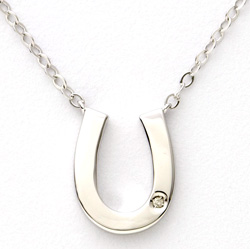 Sterling Silver and Diamond Horseshoe Necklace  Model# JN557