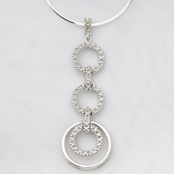 Sterling Silver and Diamond Geometric Necklace  Model# JN655