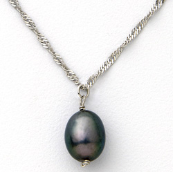 Sterling Silver Black Pearl Necklace  Model# JN970-B