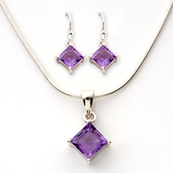 Purple Square Amethyst Earrings  Model# JS367
