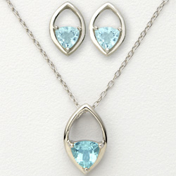 Blue Trillion Earrings and Necklace  Model# JS589-BT