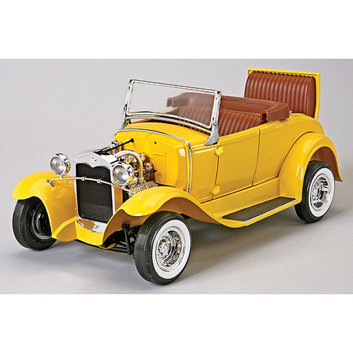 "<ul><li>1:16 scale model of the Model A, also known as the A-bone among rodders and customizers</li><li>Amazingly detailed design with realistic interior</li><li>Custom flat-head V-8 engine</li><li>Custom chrome wheels with whitewall tires</li><li>Opening jump seat</li><li>Pose-able steering</li><li>Custom ""quick-change"" axle</li><li>Deluxe decals</li><li>Skill level 3 (not recommended for kids under 14)</li><li>Glue and paint not included</li></ul>"