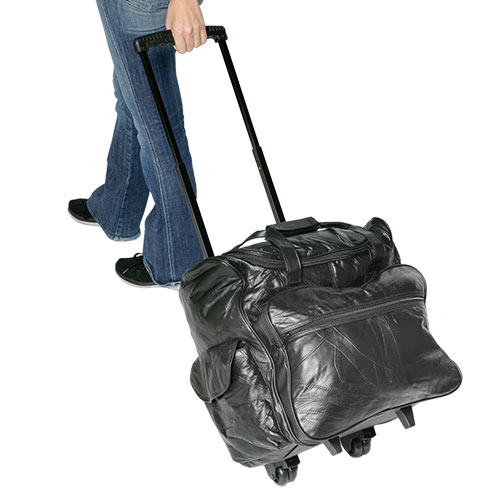 Rolling Leather Carry-On Bag