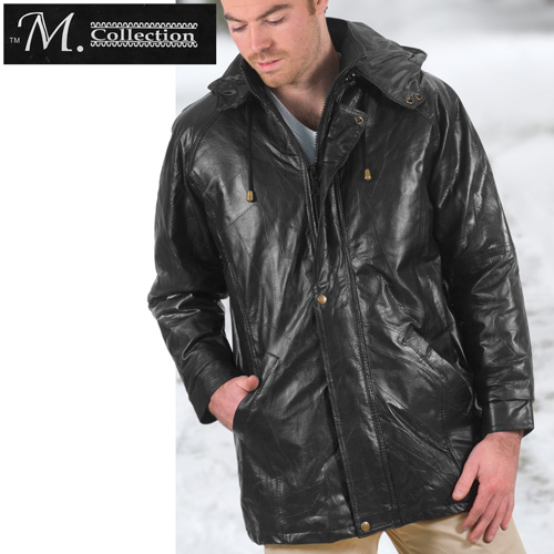 Patchwork Leather Hooded Coat