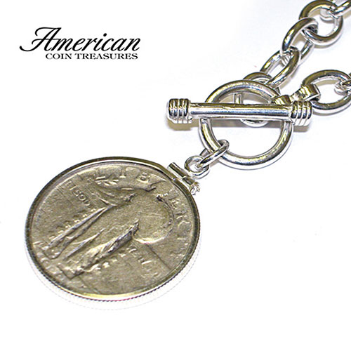 Sterling Silver Toggle Necklace With Standing Liberty Silver Quarter