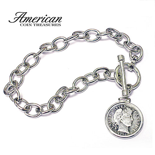 'Sterling Silver Toggle Bracelet With Silver Barber Dime'