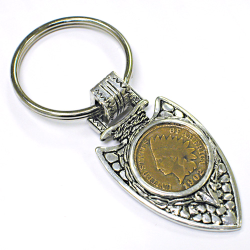 'Indian Cent in Silvertone Arrowhead Keyring'
