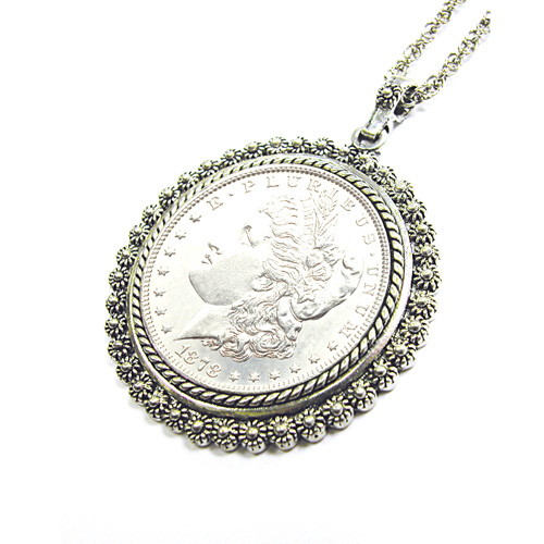 'Morgan Dollar Pendant with Silvertone Bezel'