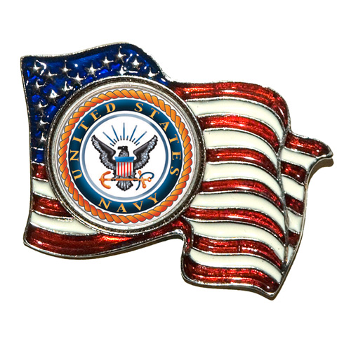 'Armed Forces Colorized Quarter Flag Pin - Navy'