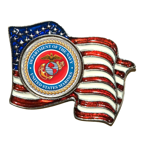 'Armed Forces Colorized Quarter Flag Pin - Marines'