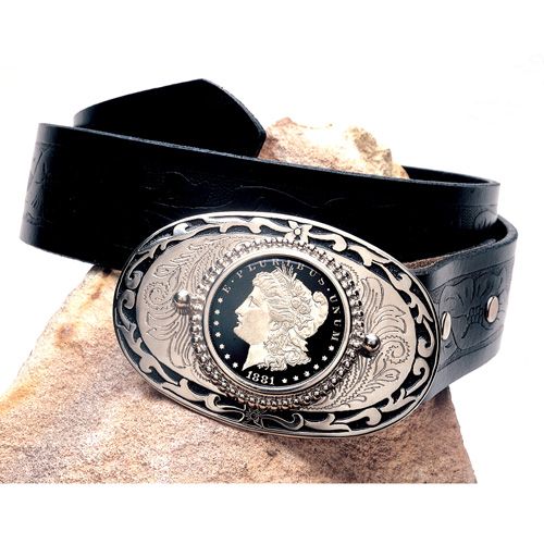 'Black Enamel Morgan Silver Dollar Belt Buckle'
