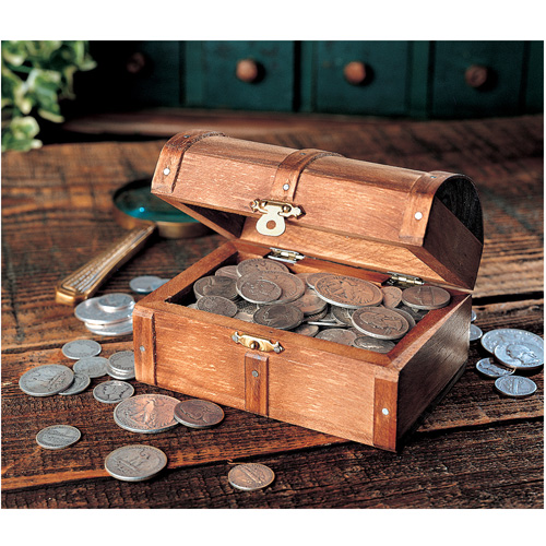 'Historic Wooden Treasure Chest of Rare Old Silver Coins'