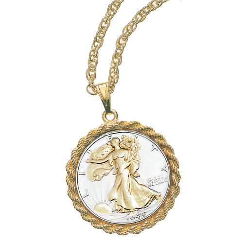 'Selectively Gold-Layered Silver Walking Liberty Half Dollar Pendant'
