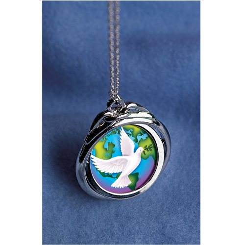 'World Peace Spnner Pendant with Colorized Walking Liberty Silver Half Dollar'