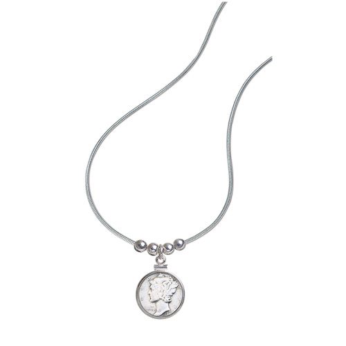 'Silver Mercury Dime Pendant'
