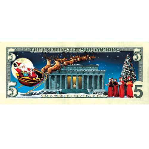 'Jingle Bucks Colorized $5 Bill'