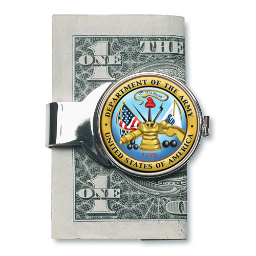 'Silver-toned Moneyclip with Army JFK'