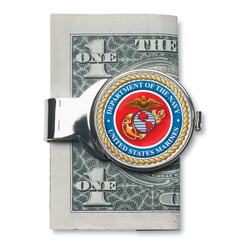 Silver-toned Moneyclip with Marines JFK