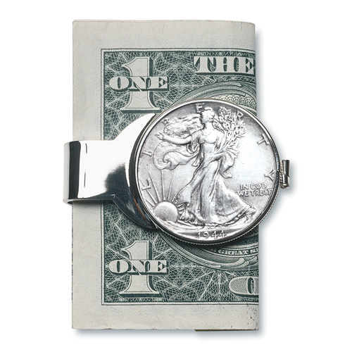 'Silver Walking Liberty Half Dollar Money Clip'