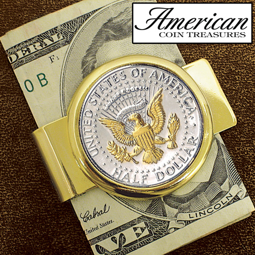 'JFK Half Dollar President Seal Money Clip'