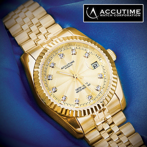 'Accutime 11 Diamond Gold Watch'