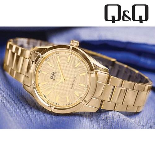 'Q&Q Gold Dress Watch'