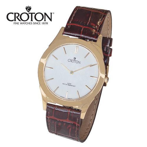 'Croton Thin Gold Watch - White'