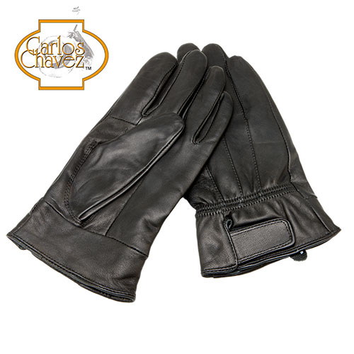 'Mens Leather Insulated Gloves - Black'