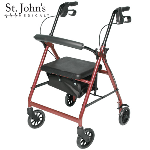 St John's Medical Premium Rolling Walker - Burgundy