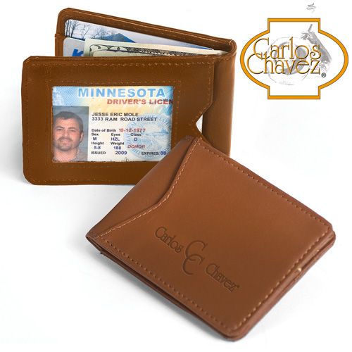 'Leather Clip Wallet - Brown'