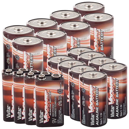 Vivitar C/D/9V Batteries - 20 Pack