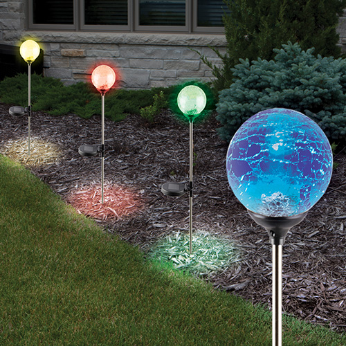 4PK Crackled Solar Color Lights