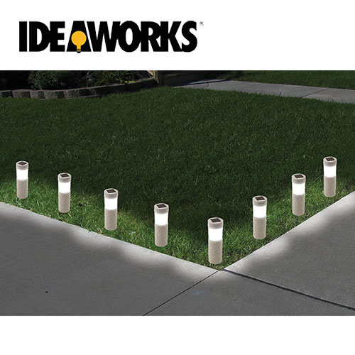 '8 Pack Stone Pillar Solar Lights'