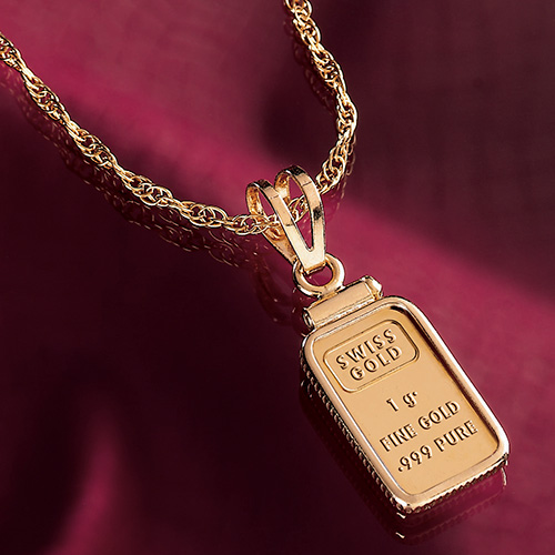 "It was once so rare and precious that it was only worn by royalty. Now you can wear pure gold for an amazingly affordable price. This eye-catching pendant features a 1-gram .999 fine gold ingot that adds an unmistakable look of elegance and class to any outfit. Ingot is securely mounted in a gold vermeil bezel and floats gracefully on an 18"" gold vermeil chain."