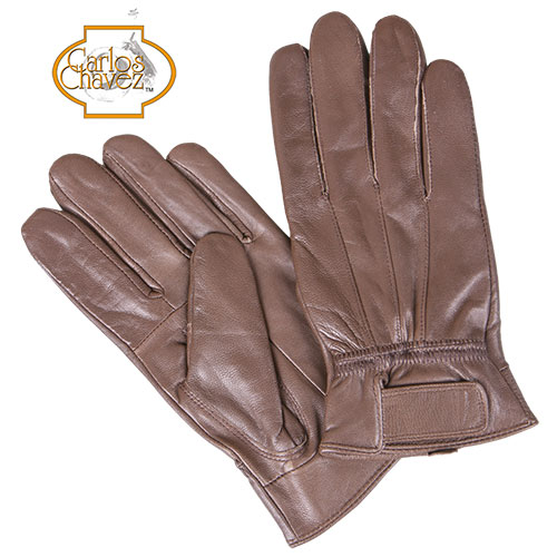 'Leather Insulated Gloves - Brown'
