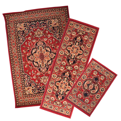 Red Apex 3PC Rug Set