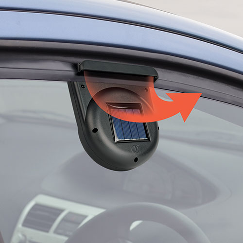 Temperatures in a parked vehicle can soar past 120 degrees. But if you crack a window to vent it, you compromise on security. This solar powered fan installs in seconds in your vehicle's window to remove hot, stale air and humidity. Helps remove tobacco and pet odors too. And because it runs on the sun, there are no batteries to replace and no drain on your vehicle's battery. Weatherproof. Not for use with tinted windows. Size 2 Pack