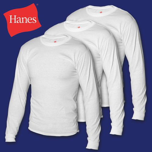 'Hanes Long Sleeve Tees - 3 Pack'