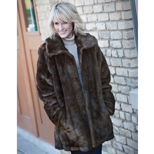 'Womens Faux Mink Coat'