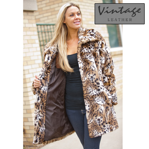 'Womens Faux Leopard Coat'