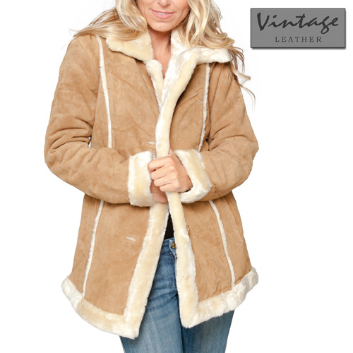 'Womens Tan Suede Coat'
