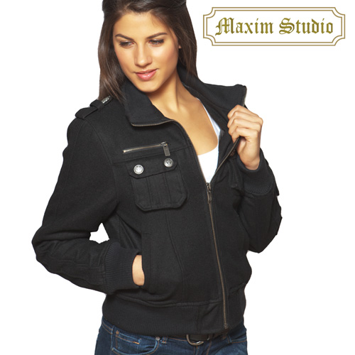 Womens Black Wool Bomber Jacket Model# J-2828(BLACK