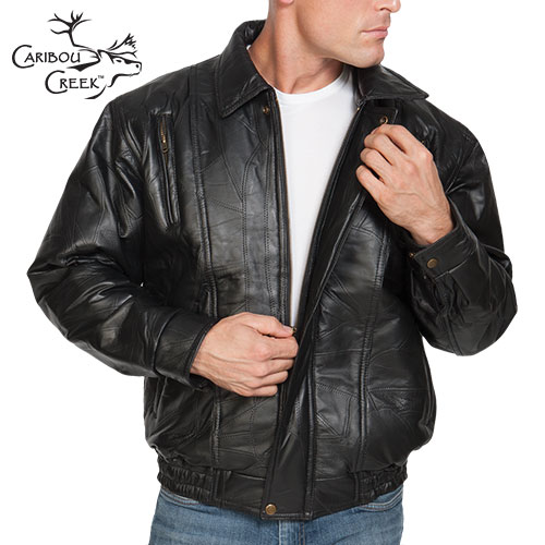'Lambskin Leather Bomber Jacket'