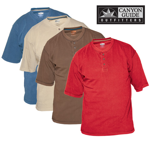 'Henley Style Short Sleeve Shirts - 4 Pack'
