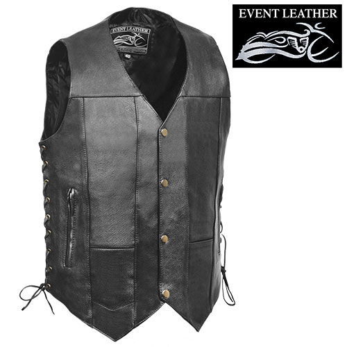 '10-Pocket Leather Motorcycle Vest'