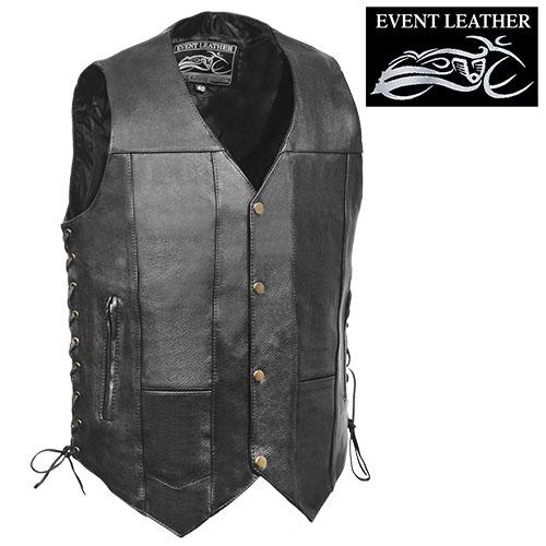 '10-Pocket Leather Motorcycle Vest'