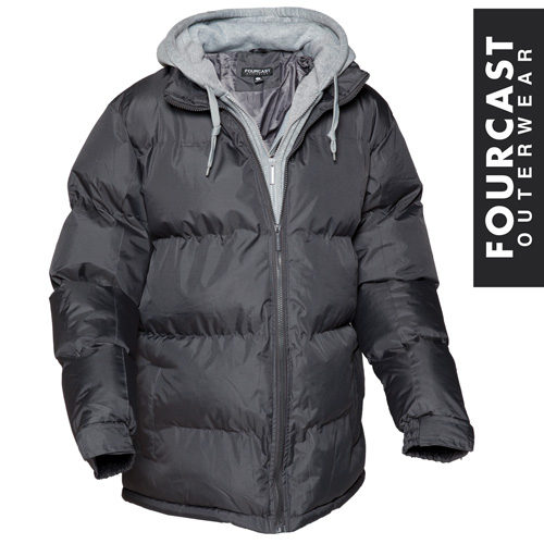 'Charcoal Bubble Jacket with Hood'