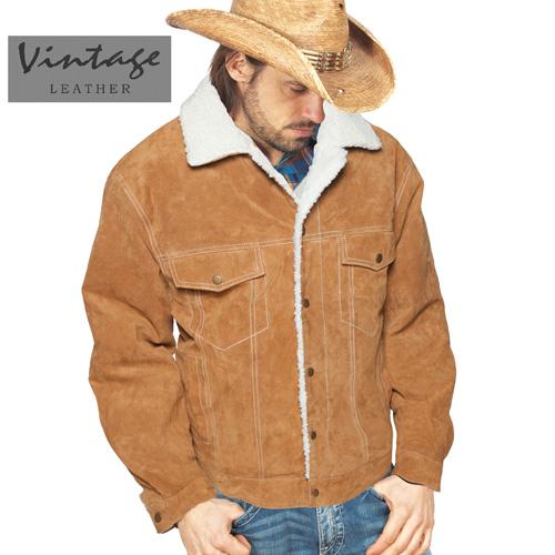 'Brown Suede Sherpa Jacket'